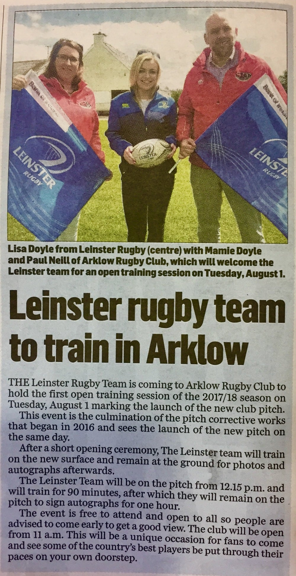 Leinster Rugby Team Open Training at Arklow Rugby Club August 2017